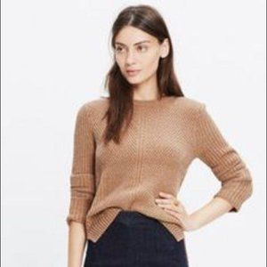 Madewell Hexcomb Textured Sweater Tan Cable S